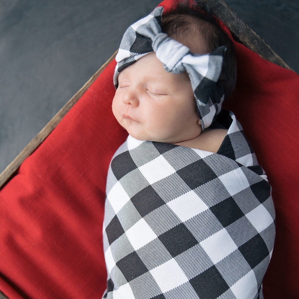 Swaddle Set - Buffalo Plaid Swaddle Blanket And Headband Set