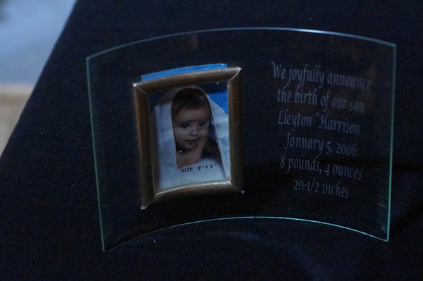 Curved Glass with Photo Frame and Custom Etching