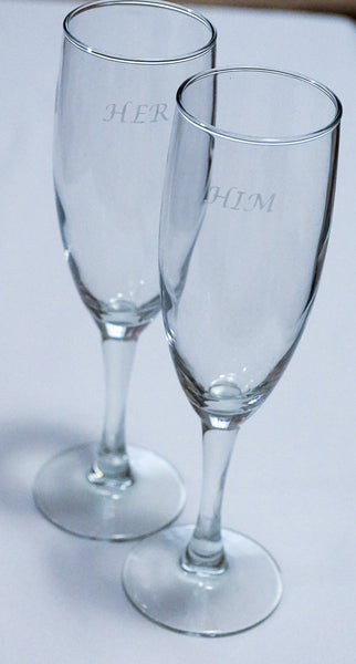 """Her"" and ""Him"" set of wedding flutes"