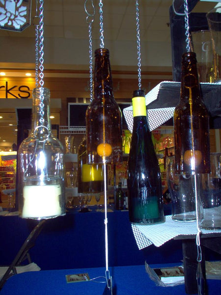 Recycled Wine Bottles - Hanging Patio Candles and Wind Chimes
