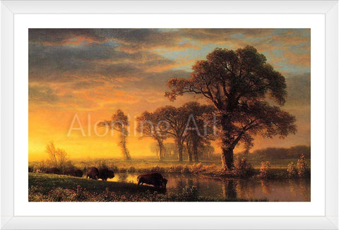Western Kansas Buffaloes Albert Bierstadt FRAMED Cotton Canvas For Home Decor * READY TO HANG Wall Art * Museum Quality Frame Frames - StyleIsUS.com