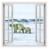 Fake 3D Window Bears in the Arctic | Canvas, Posters, Prints & Stickers - StyleIsUS.com