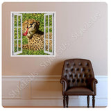 Fake 3D Window Cheetah on the Grass | Canvas, Posters, Prints & Stickers - StyleIsUS.com
