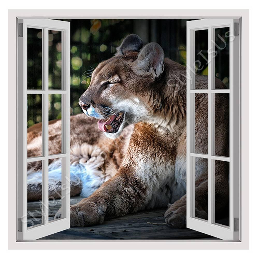 Fake 3d window cougar canvas posters prints stickers styleisus com