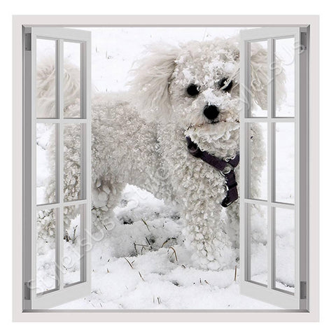 Fake 3D Window Dog in the snow | Canvas, Posters, Prints & Stickers - StyleIsUS.com