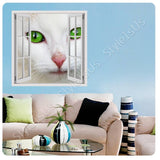 Fake 3D Window Green Eyed Cat | Canvas, Posters, Prints & Stickers - StyleIsUS.com
