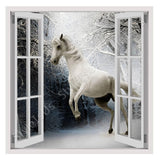 Fake 3D Window Wild White Horse | Canvas, Posters, Prints & Stickers - StyleIsUS.com