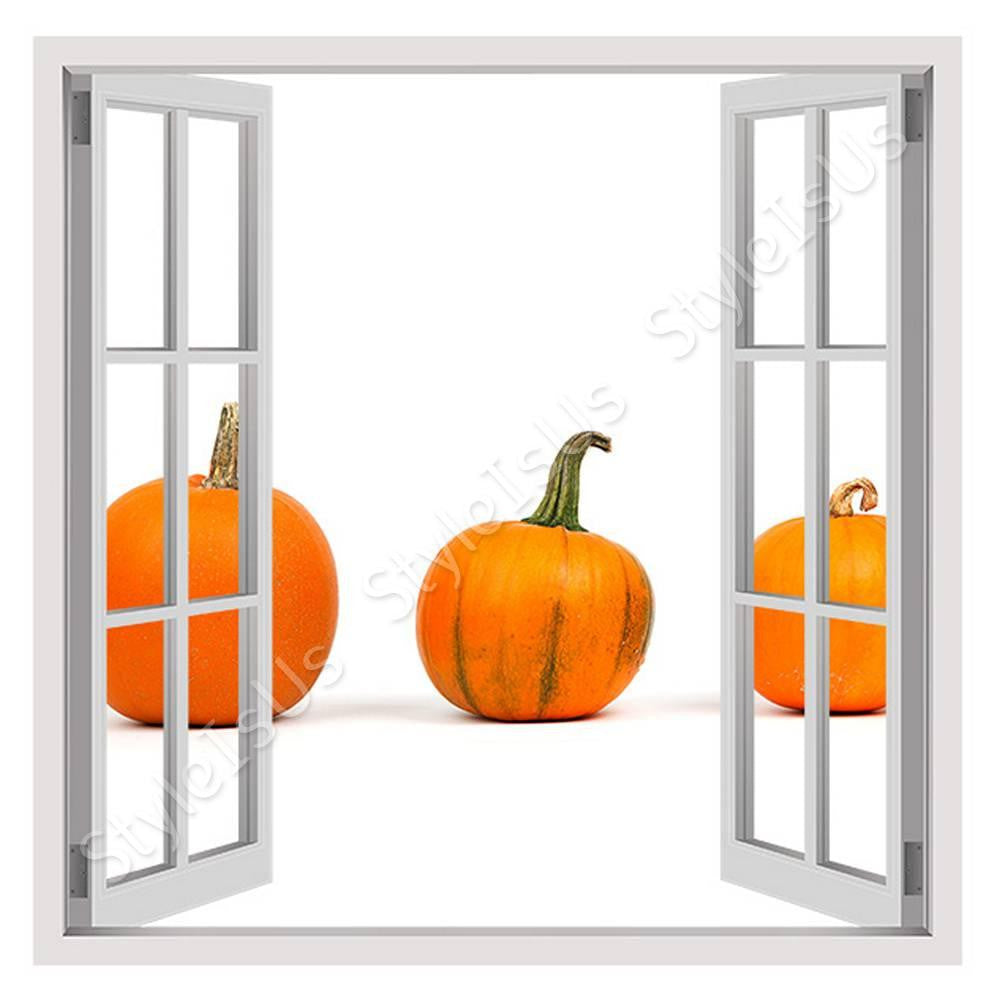 Fake 3D Window Pumpkins | Canvas, Posters, Prints & Stickers - StyleIsUS.com