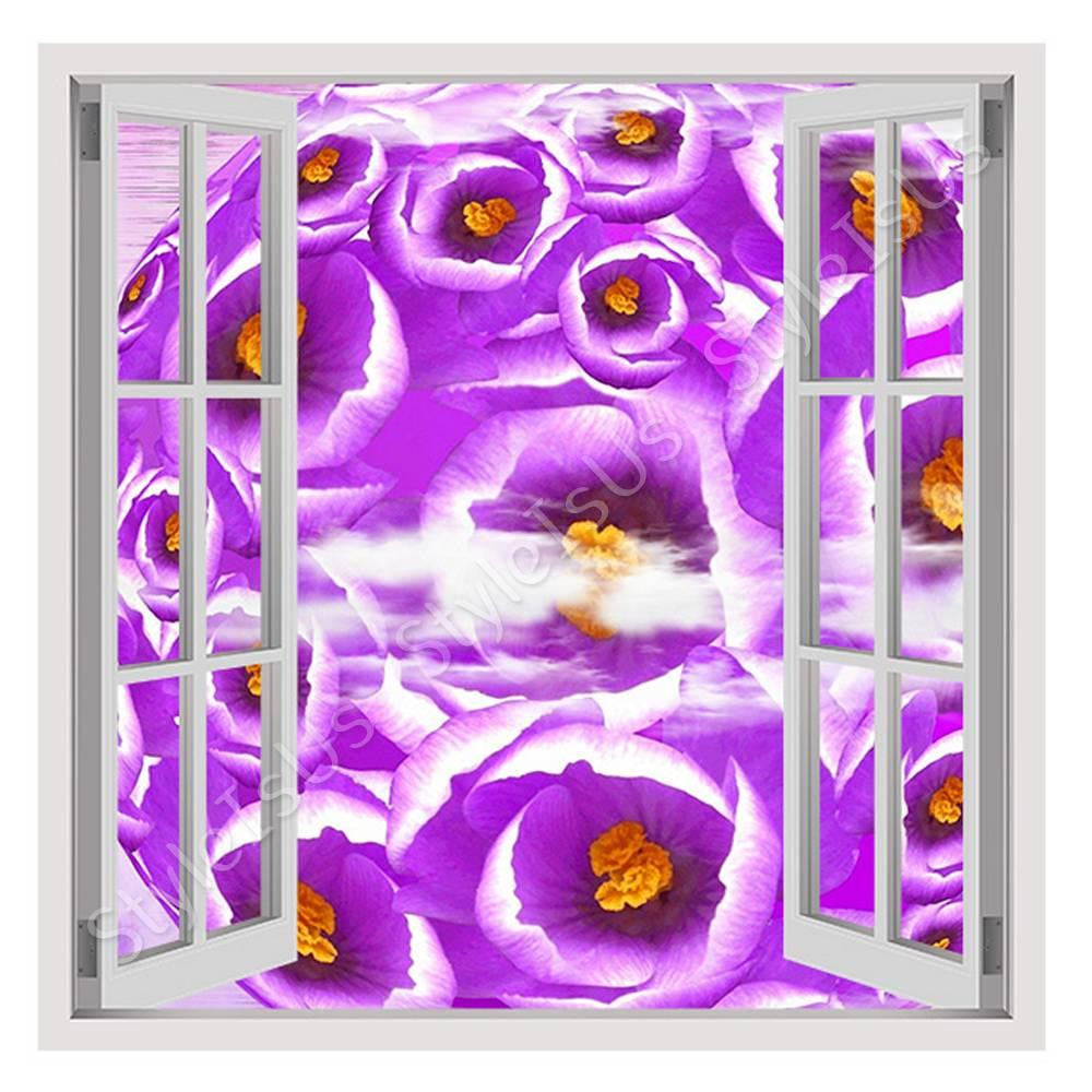 Fake 3D Window Graphic Crocus | Canvas, Posters, Prints & Stickers - StyleIsUS.com