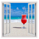 Fake 3D Window Cocktail on the beach | Canvas, Posters, Prints & Stickers - StyleIsUS.com