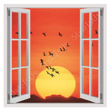 Fake 3D Window Geese Flying in the Sunset | Canvas, Posters, Prints & Stickers - StyleIsUS.com