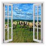 Fake 3D Window Landscape with Cattle | Canvas, Posters, Prints & Stickers - StyleIsUS.com