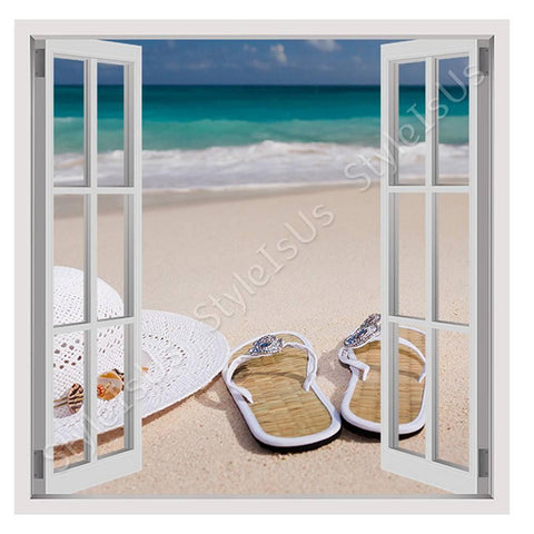 Fake 3D Window Sandals on the beach | Canvas, Posters, Prints & Stickers - StyleIsUS.com