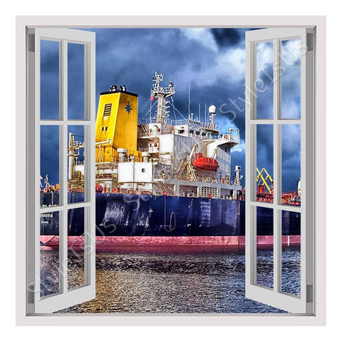 Fake 3D Window Ship in a Port | Canvas, Posters, Prints & Stickers - StyleIsUS.com