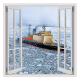 Fake 3D Window Ship in the Antarctica | Canvas, Posters, Prints & Stickers - StyleIsUS.com
