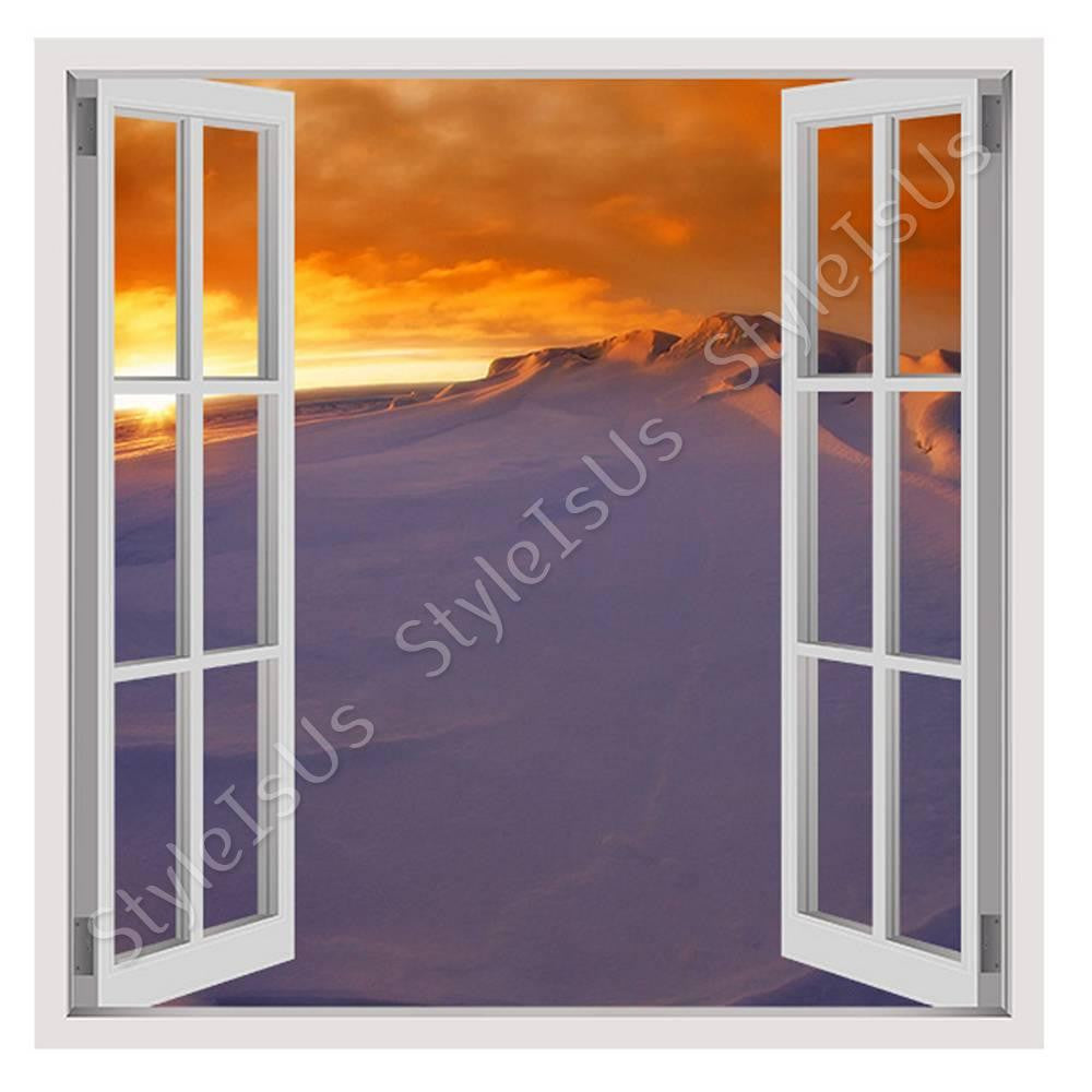 Fake 3D Window Sunset in Antarctica | Canvas, Posters, Prints & Stickers - StyleIsUS.com