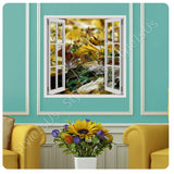 Fake 3D Window Leaves in the fall | Canvas, Posters, Prints & Stickers - StyleIsUS.com