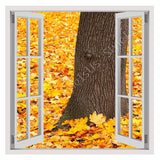 Fake 3D Window Leaves next to a tree | Canvas, Posters, Prints & Stickers - StyleIsUS.com