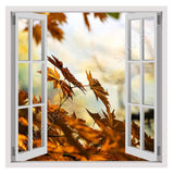Fake 3D Window Red Maple Leaf | Canvas, Posters, Prints & Stickers - StyleIsUS.com
