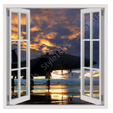 Fake 3D Window Aircraft in the sunset | Canvas, Posters, Prints & Stickers - StyleIsUS.com