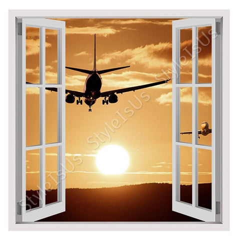Fake 3D Window Aircraft Landing | Canvas, Posters, Prints & Stickers - StyleIsUS.com