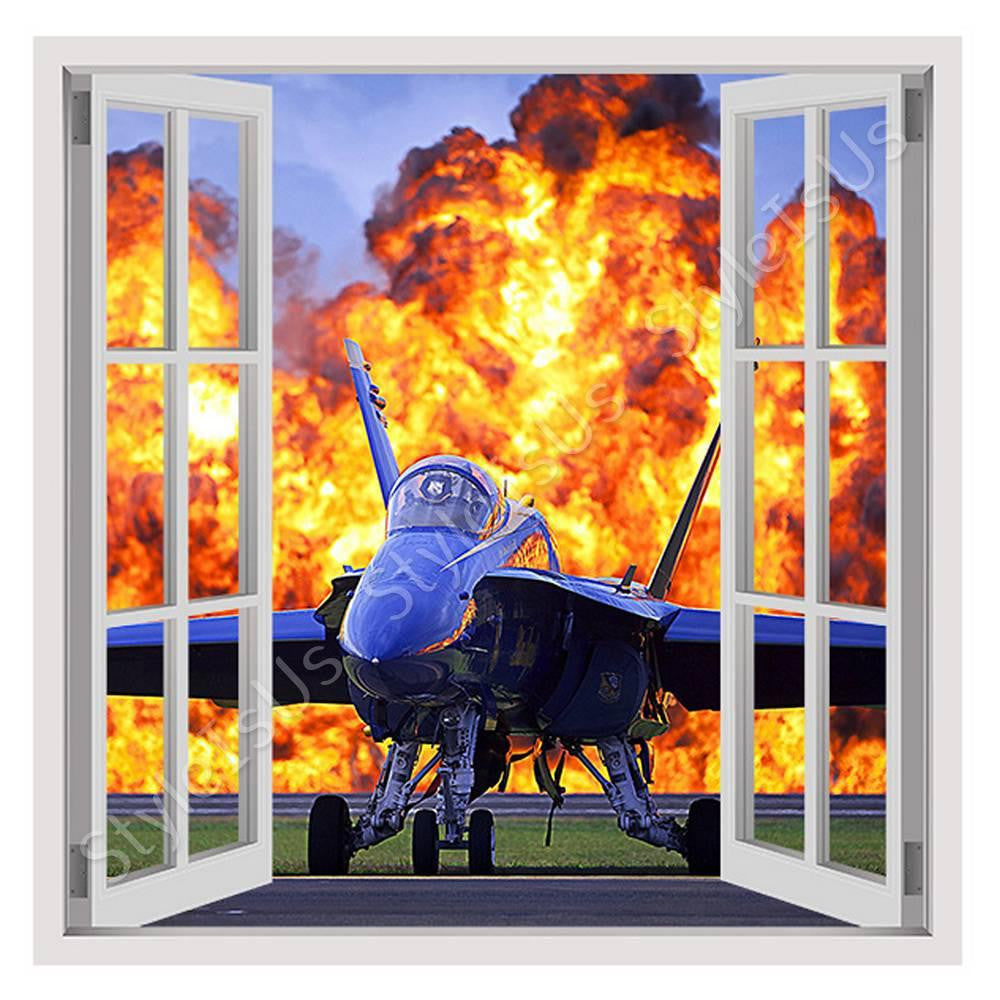 Fake 3D Window Military Air Show | Canvas, Posters, Prints & Stickers - StyleIsUS.com