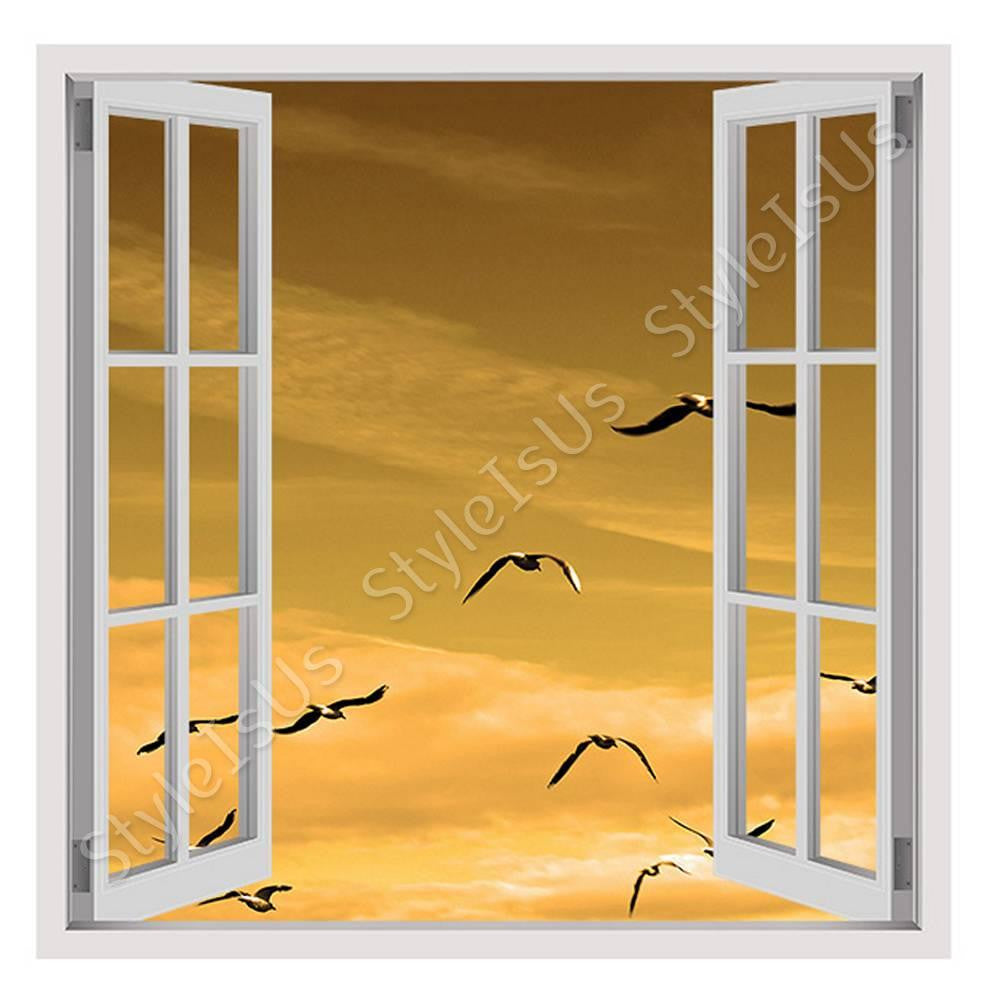 Fake 3D Window Seagulls Flying in sky | Canvas, Posters, Prints ...
