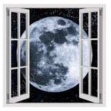 Fake 3D Window The Moon in Space | Canvas, Posters, Prints & Stickers - StyleIsUS.com