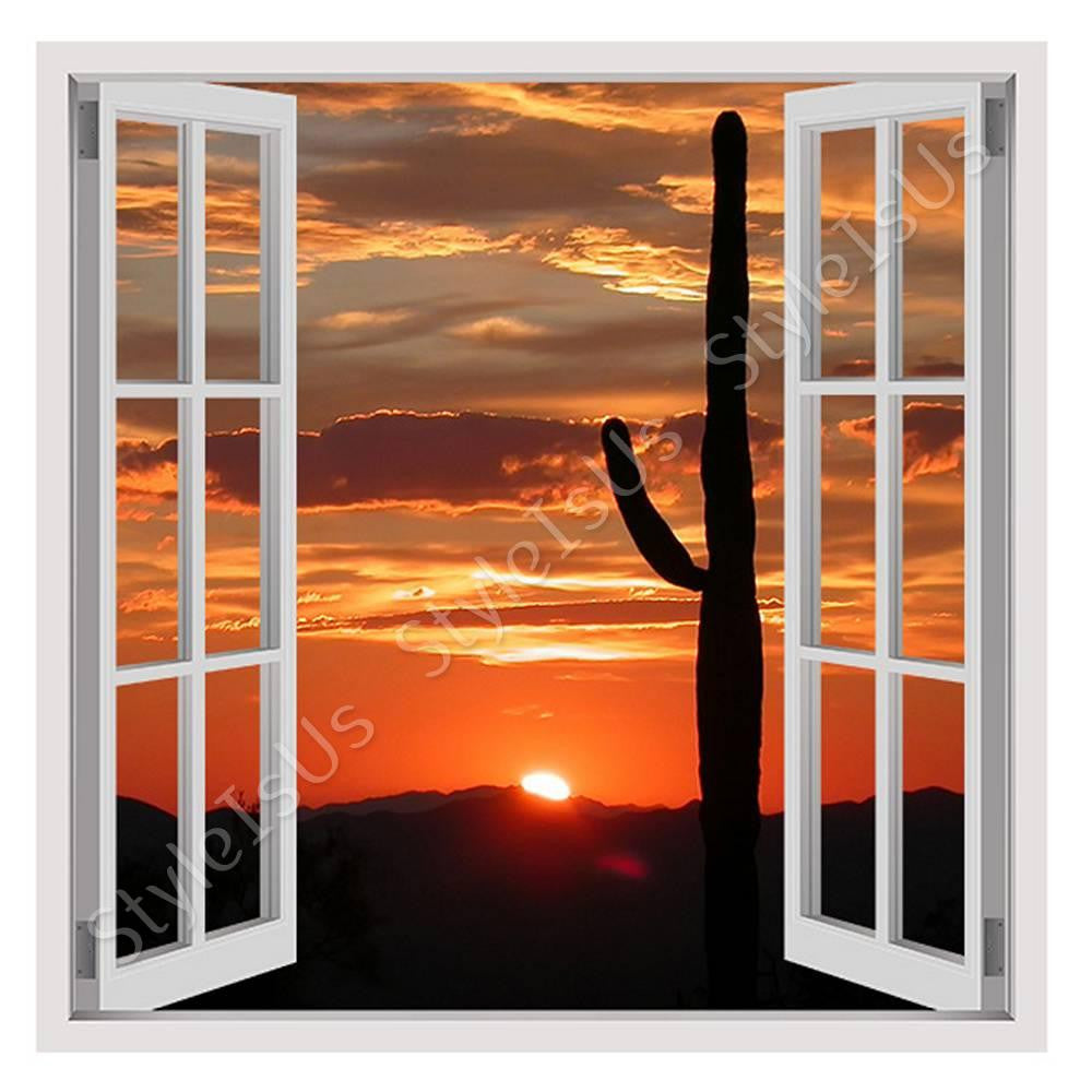 Fake 3D Window Arizonas Landscape | Canvas, Posters, Prints & Stickers - StyleIsUS.com