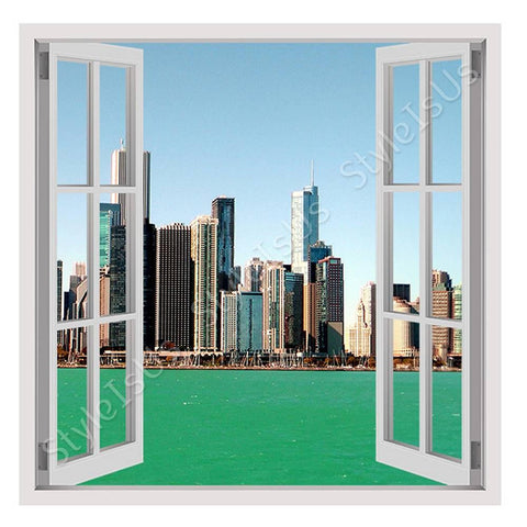 Fake 3D Window Lake Michigan | Canvas, Posters, Prints & Stickers - StyleIsUS.com