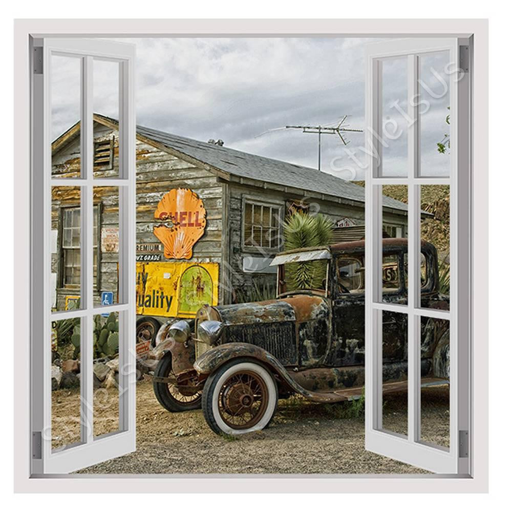 Fake 3D Window Vintage Car in Arizona | Canvas, Posters, Prints & Stickers - StyleIsUS.com