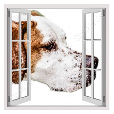 Fake 3D Window Adorable Brown Dog | Canvas, Posters, Prints & Stickers - StyleIsUS.com
