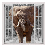 Fake 3D Window African Elephant | Canvas, Posters, Prints & Stickers - StyleIsUS.com