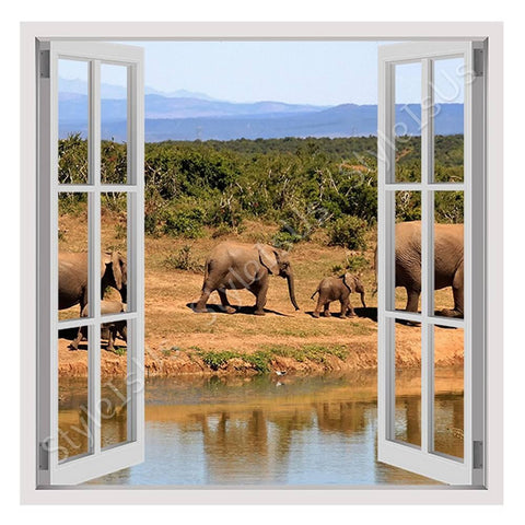 Fake 3D Window African Elephants | Canvas, Posters, Prints & Stickers - StyleIsUS.com