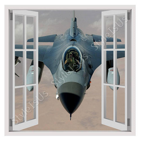 Fake 3D Window Air Force Fighter Pilot | Canvas, Posters, Prints & Stickers - StyleIsUS.com