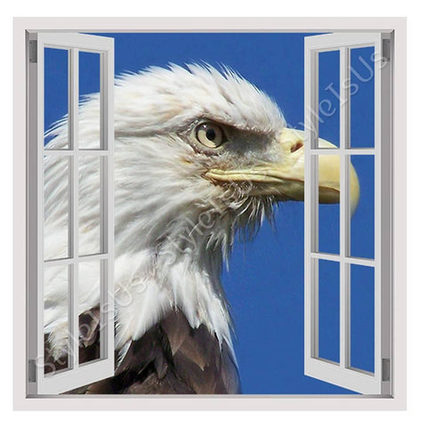 Fake 3D Window An Eagle Bird of Prey | Canvas, Posters, Prints & Stickers - StyleIsUS.com