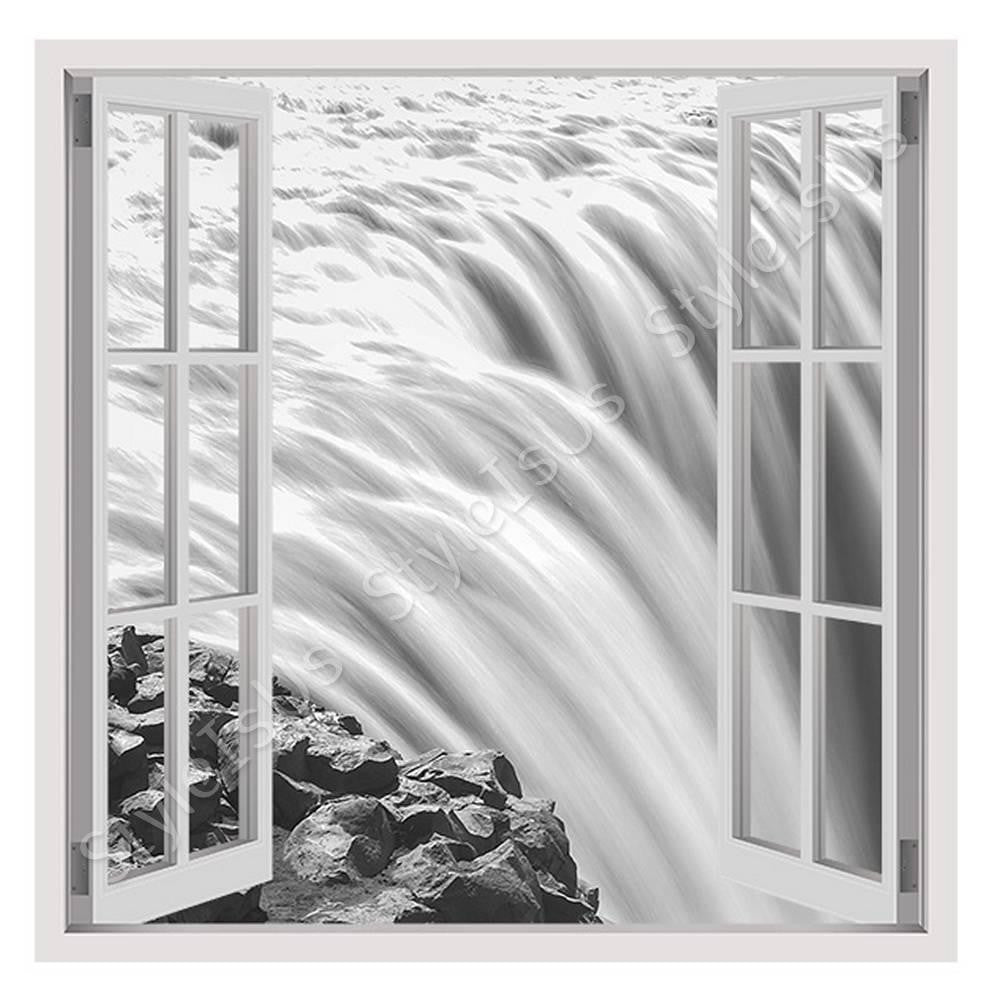 Fake 3D Window Black and White Falls | Canvas, Posters, Prints & Stickers - StyleIsUS.com