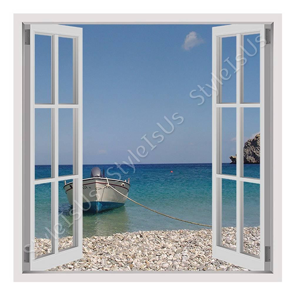 Fake 3D Window Boat on the Beach | Canvas, Posters, Prints & Stickers - StyleIsUS.com