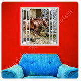 Fake 3D Window Brown Horse on Field | Canvas, Posters, Prints & Stickers - StyleIsUS.com
