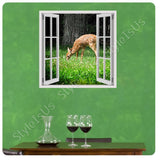 Fake 3D Window Deer on the Countryside | Canvas, Posters, Prints & Stickers - StyleIsUS.com