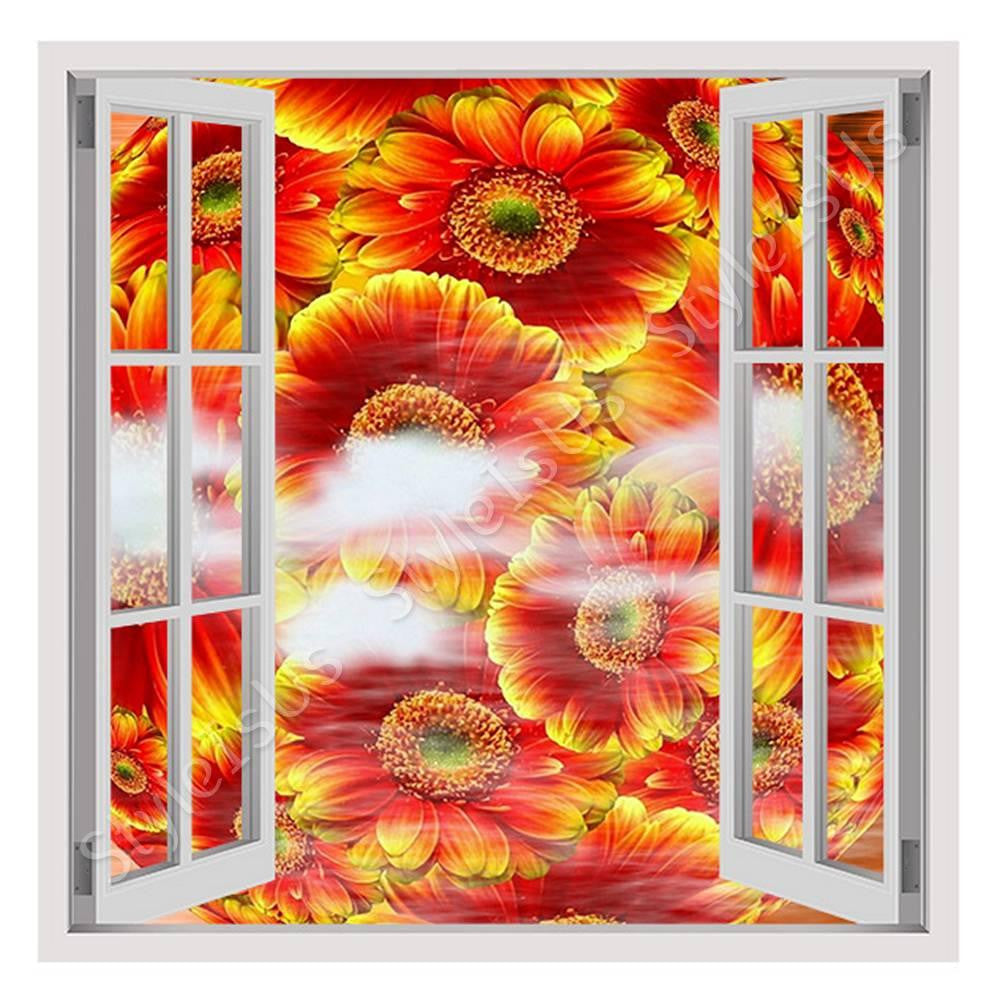 Fake 3D Window Digital Art Flowers | Canvas, Posters, Prints & Stickers - StyleIsUS.com