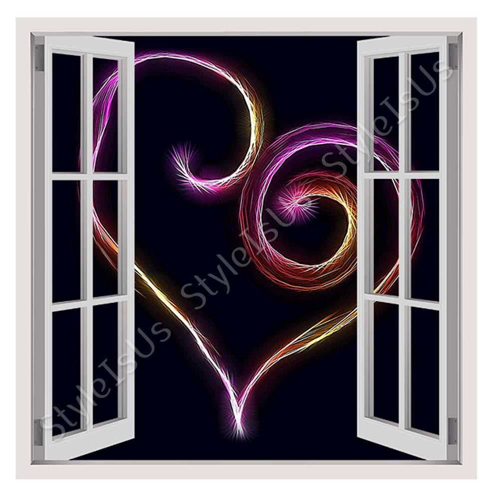 Fake 3D Window Digital Art Heart | Canvas, Posters, Prints & Stickers - StyleIsUS.com