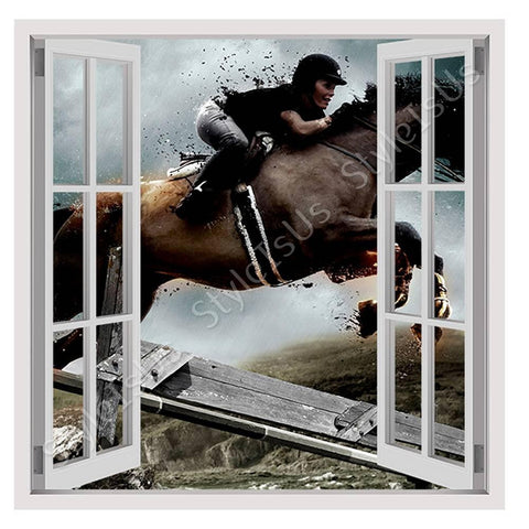 Fake 3D Window Digital Art Wild Horse | Canvas, Posters, Prints & Stickers - StyleIsUS.com