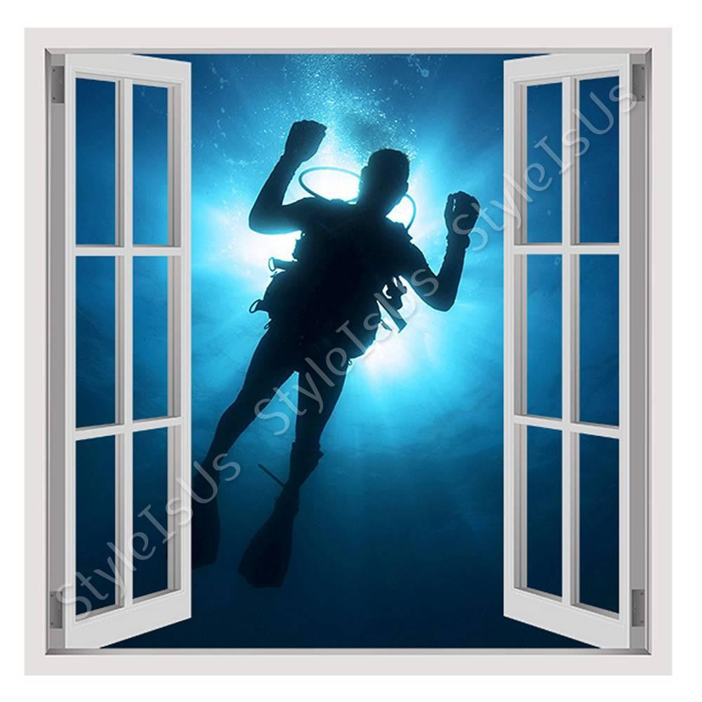 Fake 3D Window Diver in the Sea | Canvas, Posters, Prints & Stickers - StyleIsUS.com