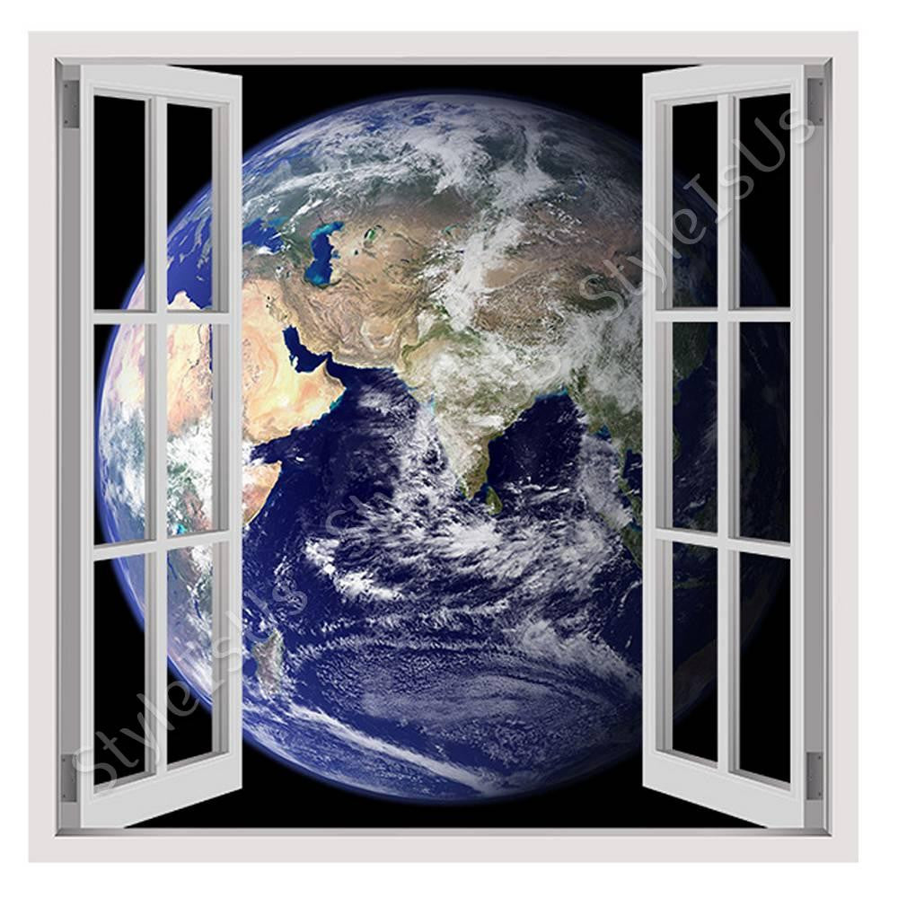 Fake 3D Window Earth from Space | Canvas, Posters, Prints & Stickers - StyleIsUS.com