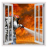 Fake 3D Window Fire Fighters Flames | Canvas, Posters, Prints & Stickers - StyleIsUS.com