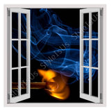 Fake 3D Window Fire on a Match | Canvas, Posters, Prints & Stickers - StyleIsUS.com