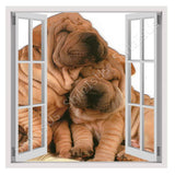 Fake 3D Window Friendship between Dogs | Canvas, Posters, Prints & Stickers - StyleIsUS.com