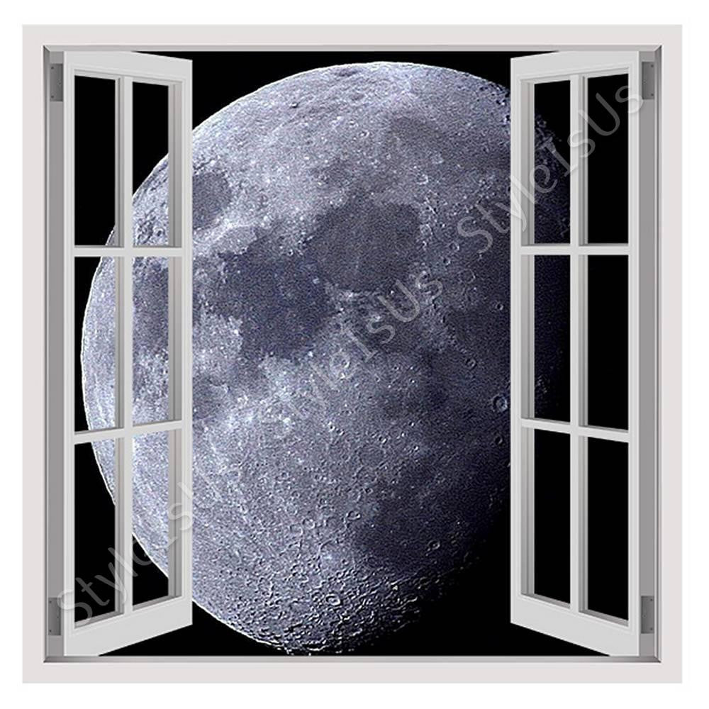 Fake 3D Window Full Moon | Canvas, Posters, Prints & Stickers - StyleIsUS.com