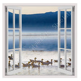 Fake 3D Window Geese with Mountains | Canvas, Posters, Prints & Stickers - StyleIsUS.com